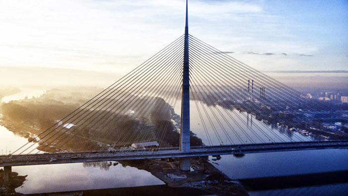 Ada Bridge in Belgrade, Serbia