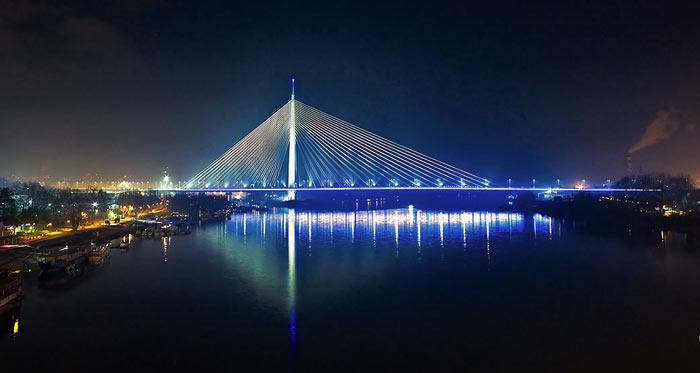 Ada Bridge in Belgrade, Serbia at night