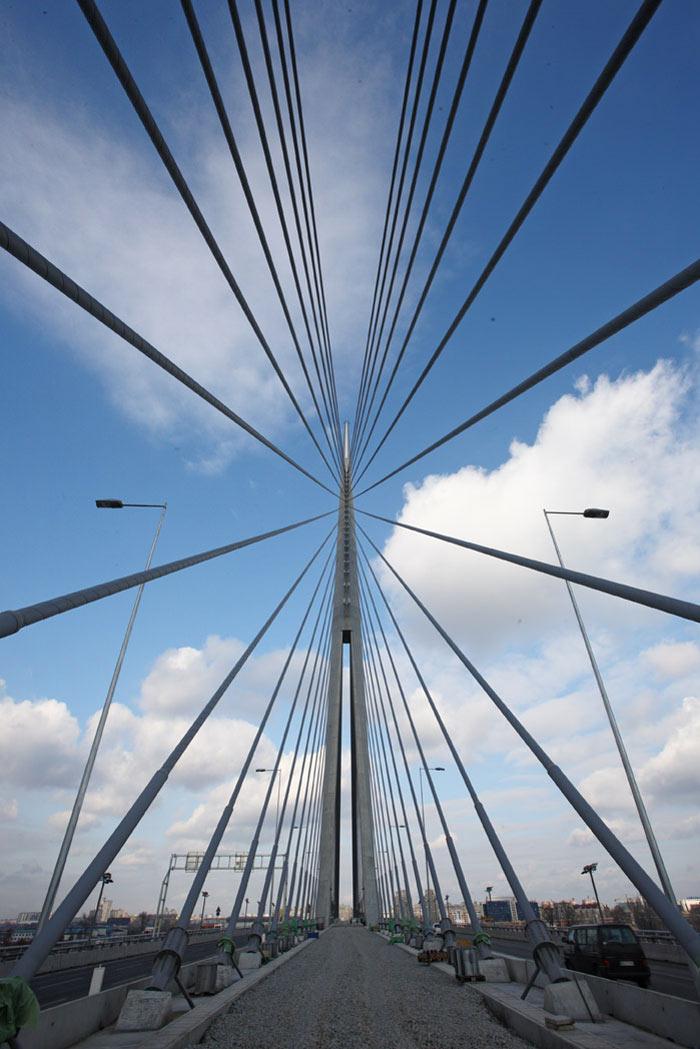 Cables of the Ada Bridge in Belgrade, Serbia
