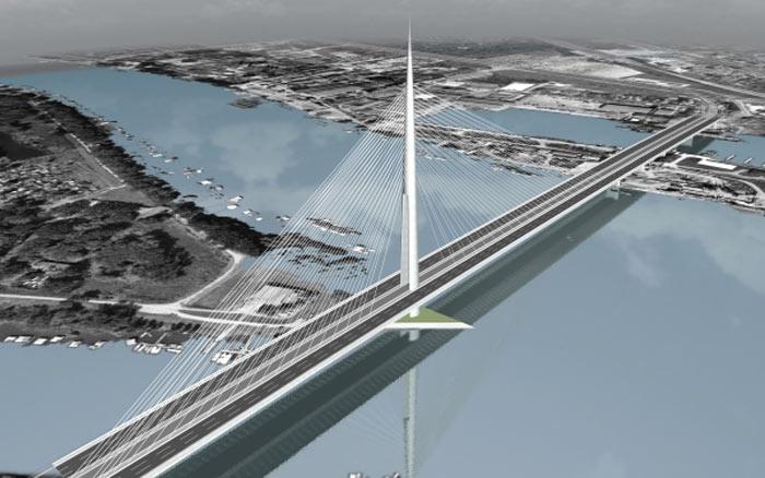 Rendering of the Ada Bridge in Belgrade, Serbia