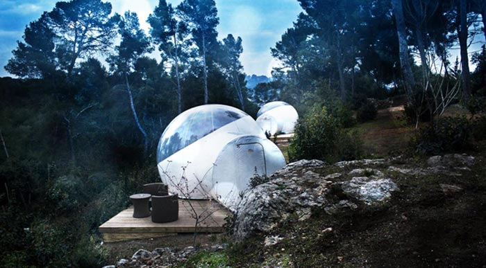 Attrap Reves Bubble Hotel Made of Transparent Tents on Jebiga