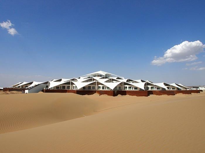 Exterior view of the Desert Lotus Resort in Mongolia in the Gobi Desert