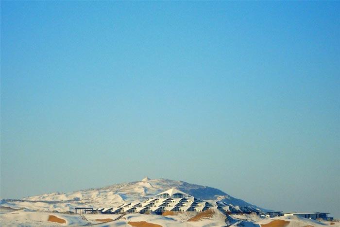 Archtiecture of the Desert Lotus Resort in Mongolia in the Gobi Desert