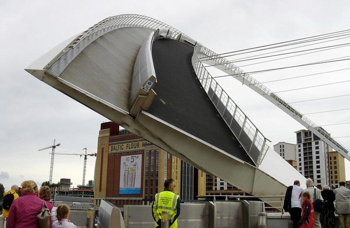 Gateshead Millennium Bridge Tilting Bridge in England being lifted and tilted