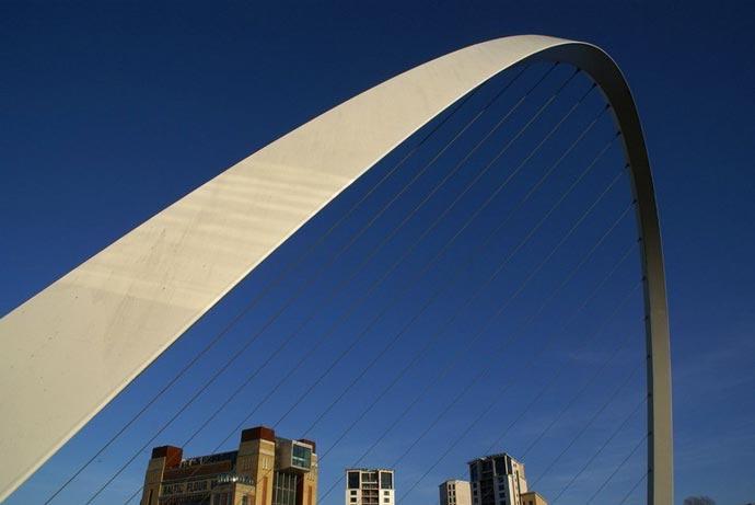 Top of the Gateshead Millennium Bridge Tilting Bridge in England