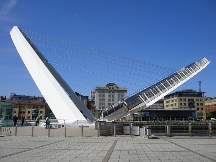 Side view of the Gateshead Millennium Bridge Tilting Bridge in England