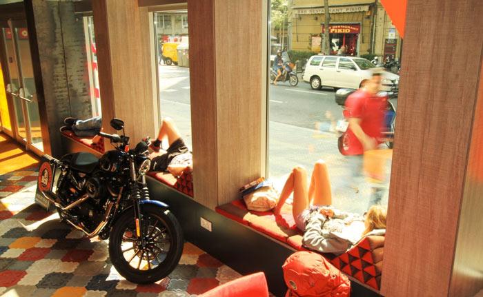 Street level window at the Generator Hostel in Barcelona Spain
