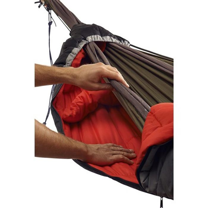 Insulative layers inside the Hammock Compatible Sleeping Bag by Grand Trunk