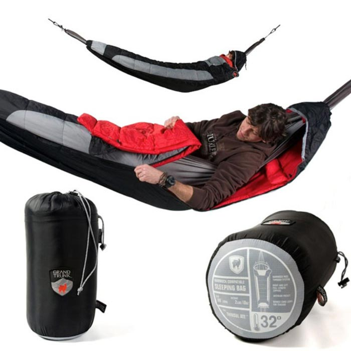Man sleeping in the Hammock Compatible Sleeping Bag by Grand Trunk