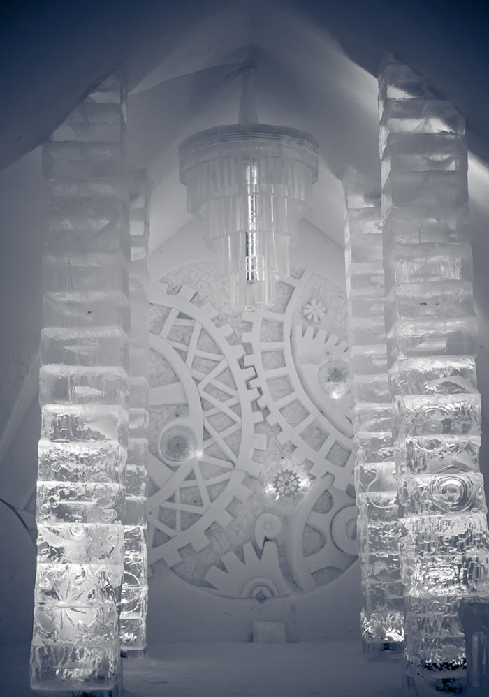 Ice door at the Hotel de Glace, An Ice Hotel Quebec City, Canada