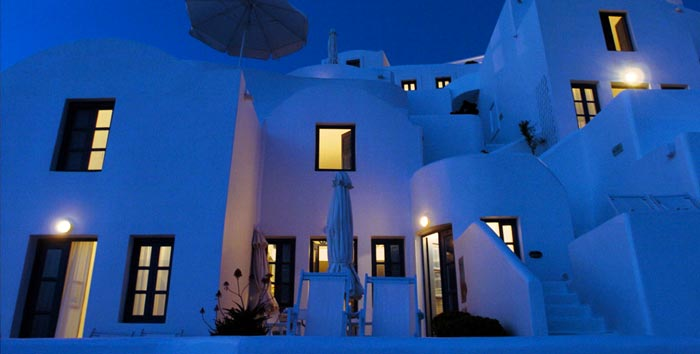 Exterior view of Ikies Traditional Houses in Santorini