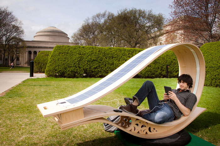 Side view of the MIT SOFT Rockers Solar Powered Charging Station ...