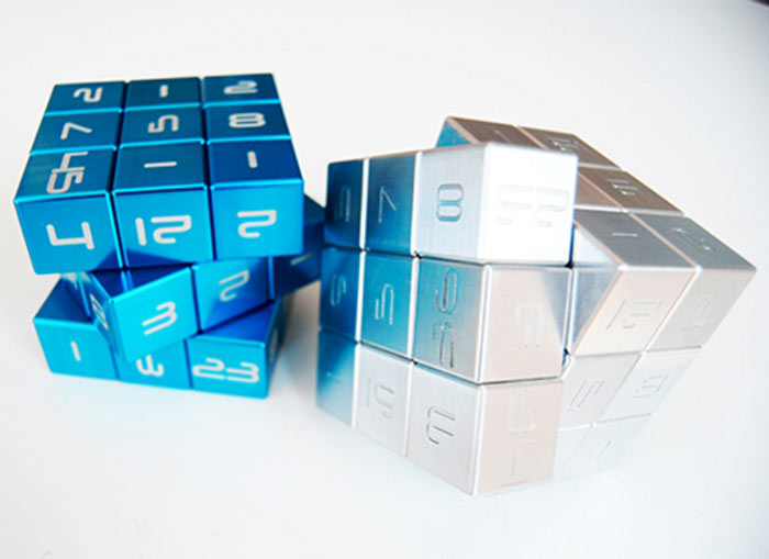 Blue and silver Magic Cube by Innovation LLC
