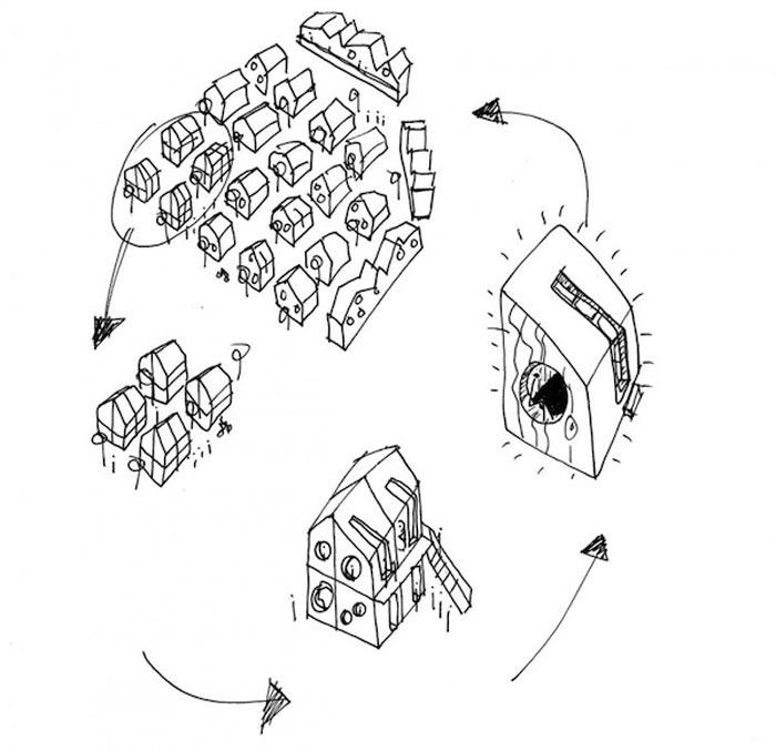 Micro cottage community diagram at Virserum Art Museum Sweden