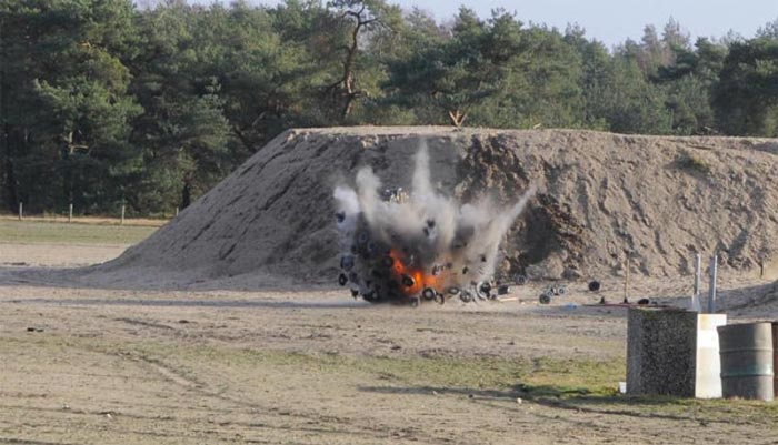 Explosion of a Mine Kafon Minefield Sweeper
