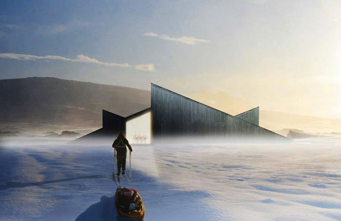 Skiers approaching the Mountain Hill Ski Cabin by Fantastic Norway Architects