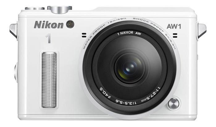 Lens of the white Nikon 1 AW1 Waterproof Shockproof Digital Camera