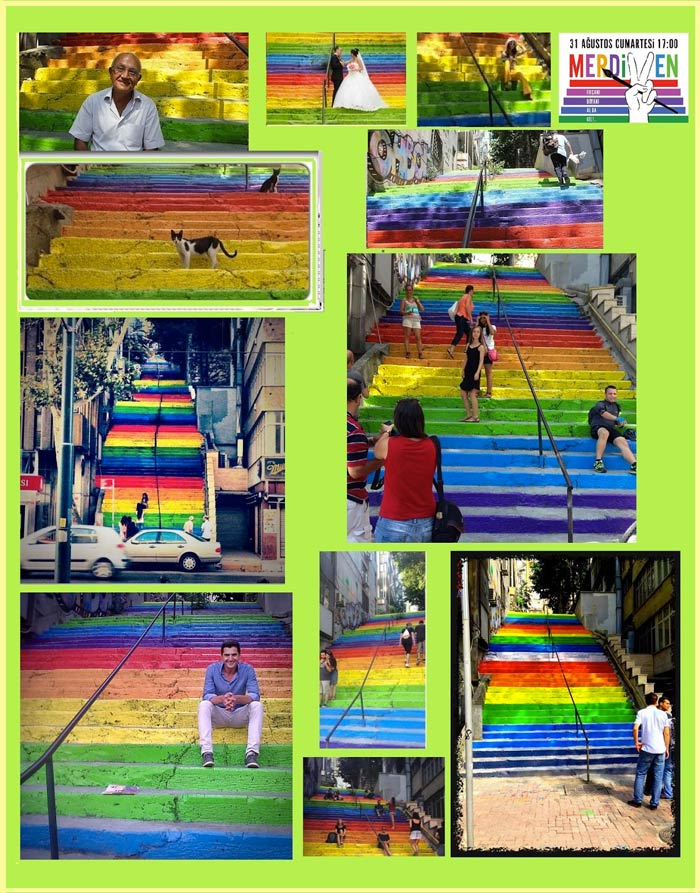 Mashup of images from the Rainbow Stairs Istanbul by Huseyin Cetinel