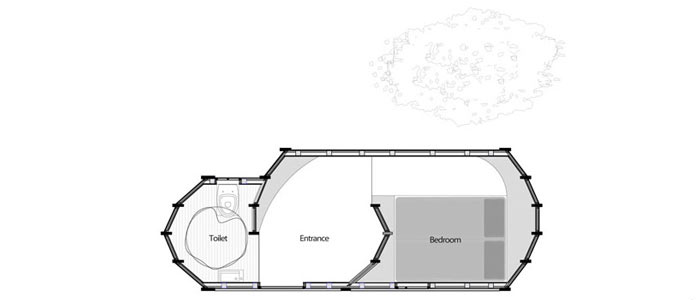 Interior room plan of Shelter ByGG Portable Accommodation by Gabriela Gomes