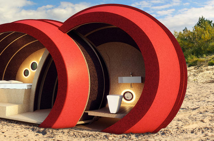Shelter ByGG Portable Accommodation by Gabriela Gomes on a beach