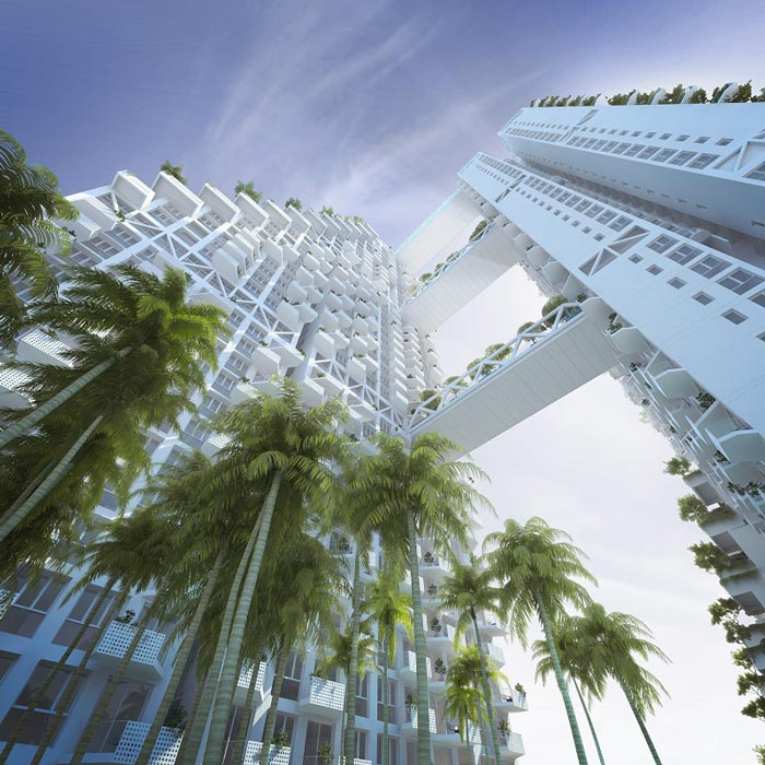 Exterior view from the bottom of the Sky Habitat Condominiums in Singapore Safdie Architects