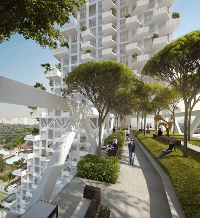 Walkway with trees and grass of the Sky Habitat Condominiums in Singapore Safdie Architects