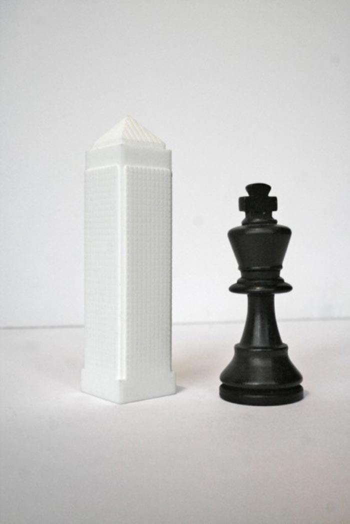 Skyline Chess Set piece and white landmark