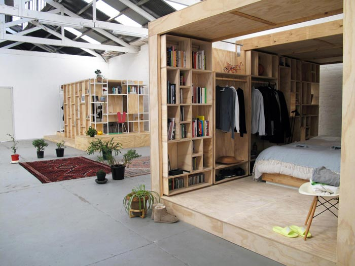 Shelving space on the Sleeping Pods by Sibling Nation