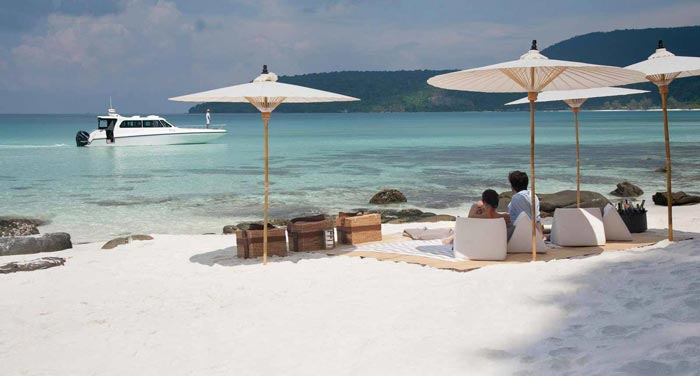 Sandy white beach at the Aerial view of the Song Saa Private Island Resort in Cambodia