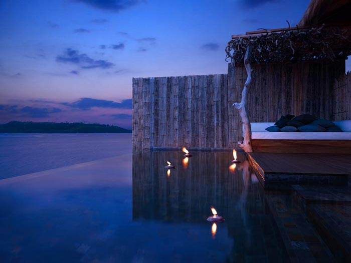 Infinity pool at the Aerial view of the Song Saa Private Island Resort in Cambodia