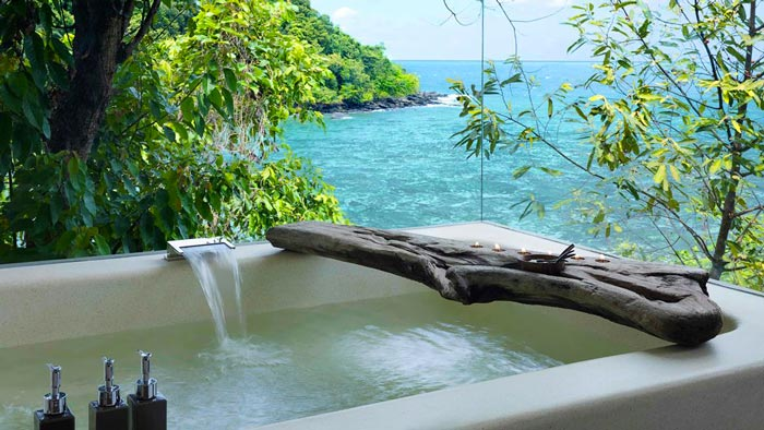 Outdoor jacuzzi at the Aerial view of the Song Saa Private Island Resort in Cambodia