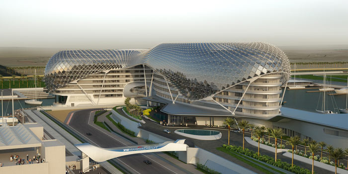 Render of the YAS Viceroy Hotel in Abu Dhabi