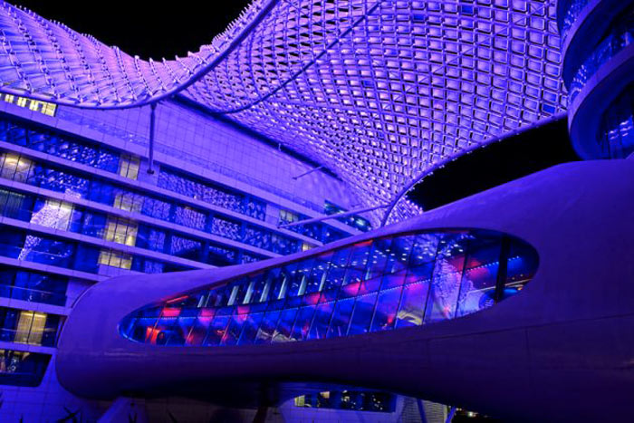 Purple LED lights of the YAS Viceroy Hotel in Abu Dhabi