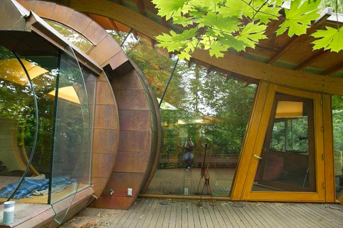 Patio area of a Treehouse Mansion in Portland, Oregon by Robert Harvey Oshatz