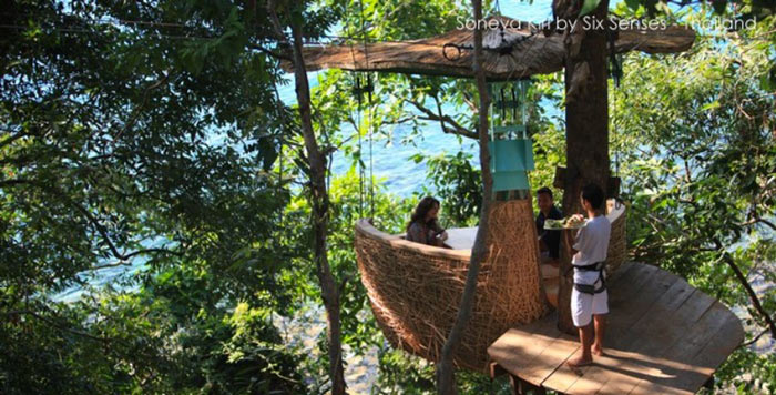 Treepod at Soneva Kiri, A Suspended Dining Pod in Thailand