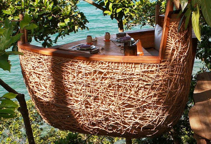 Side view of theTreepod at Soneva Kiri, A Suspended Dining Pod in Thailand