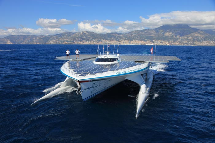 Turanor PlanetSolar World Largest Solar Powered Ship out in sea