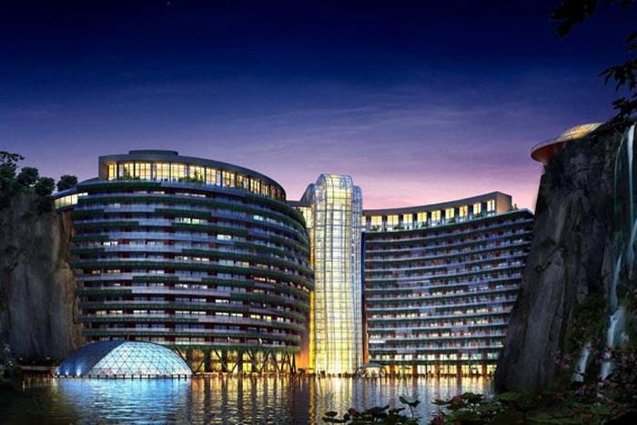 Waterworld Hotel in Songjiang Quarry in China