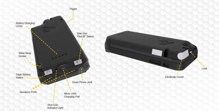 Details of each part of the iPhone Stun Gun Case and Emergency Charger by Yellow Jacket