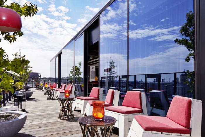 Rooftop terrace at the 25hours Hotel Wien at MuseumsQuartier
