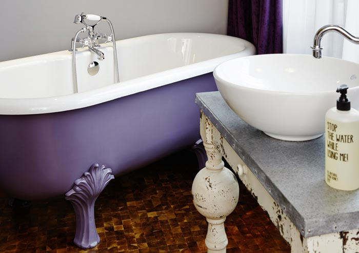 Purple bathtub in a room at 25hours Hotel Wien at MuseumsQuartier in Vienna