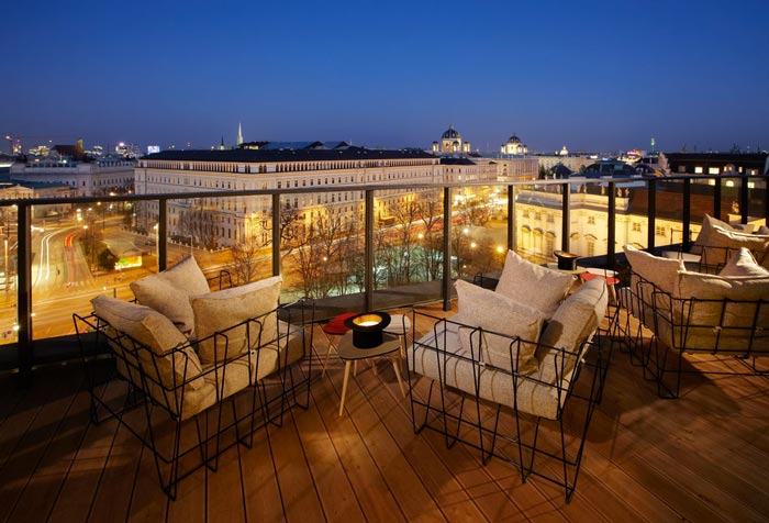 Rooftop terrace at the 25hours Hotel Wien at MuseumsQuartier in Vienna