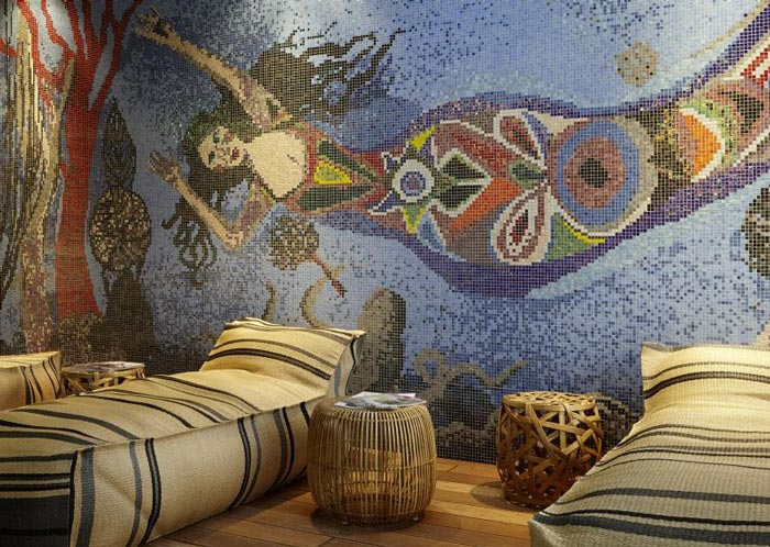 Spa mosaic mural at 25hours Hotel Wien at MuseumsQuartier