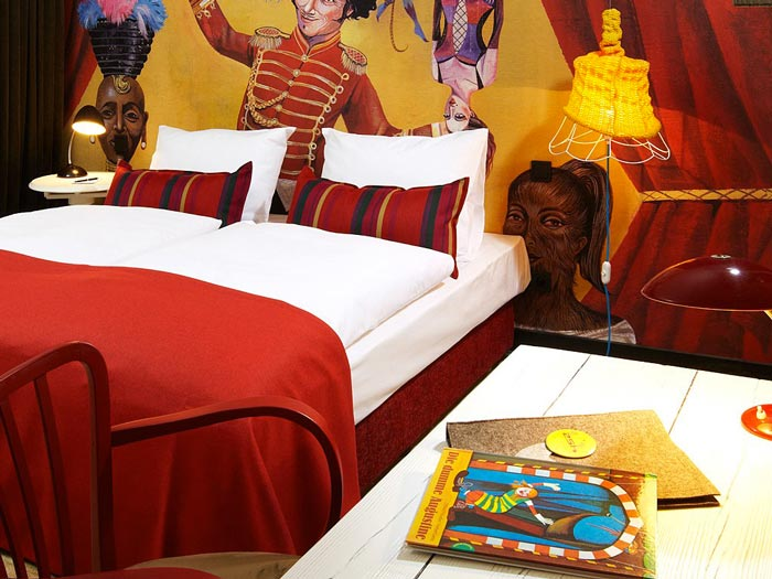 Interior design of a room at 25hours Hotel Wien at MuseumsQuartier in Vienna