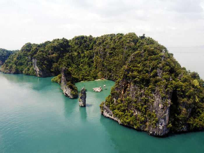 Aerial view of Archipelago Cinema Floating Cinema in Thailand