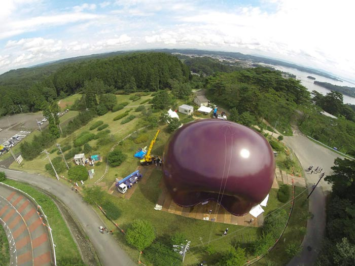 Aerial view of Ark Nova - An Inflatable Concert Hall in Japan