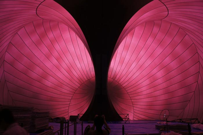 Interior design of the Ark Nova - An Inflatable Concert Hall in Japan