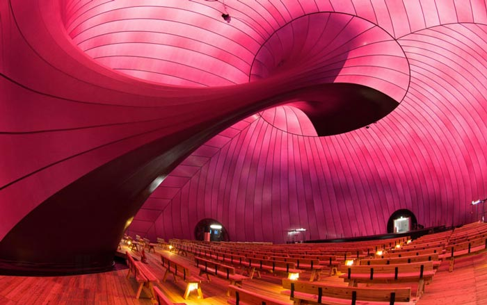 Interior decor of Ark Nova - An Inflatable Concert Hall in Japan