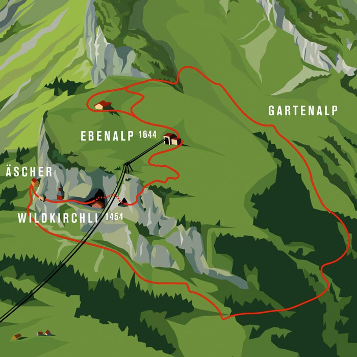 Map of the area of Berggasthaus Aescher - A Mountain Guest House Swiss Alps