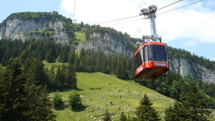 Gondola which takes you to the Berggasthaus Aescher - A Mountain Guest House